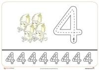 Grafomotricidad del número 4.