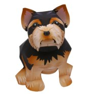Papercraft imprimible y armable del Perro Yorkshire Terrier / Yorkshire Terrier Dog. Manualidades a Raudales.