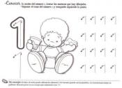 Ficha de Grafomotricidad del número 1. Manualidades a Raudales.