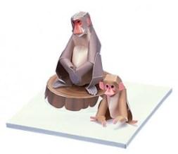 Papercraft imprimible y armable de un Macaco japoneses. Manualidades a Raudales.