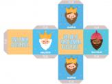 Papercraft de un Dado con los 3 Reyes Magos. Manualidades a Raudales.