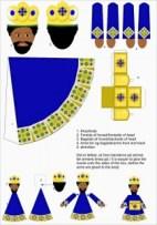 Papercraft sencillo de los 3 Reyes Magos de Oriente. Manualidades a Raudales.