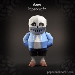 Papercraft imprimible y armable del esqueleto Sans del juego Undertale. Manualidades a Raudales.