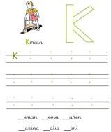 Grafomotricidad de la letra k. Manualidades a Raudales.