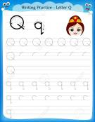 Grafomotricidad de la letra q. Manualidades a Raudales.