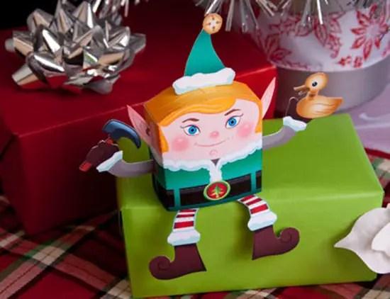 figurita recortable navidad elfo