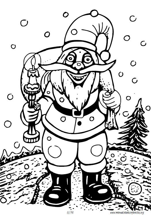 Dibujo De Papa Noel Con Saco Para Colorear Actividades