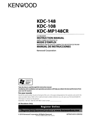 Kenwood KDC108 | Instruction Manual
