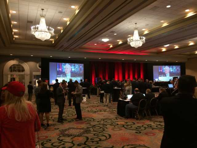 The Jefferson County Republican Party held the viewing party in the Galt House's grand ballroom.