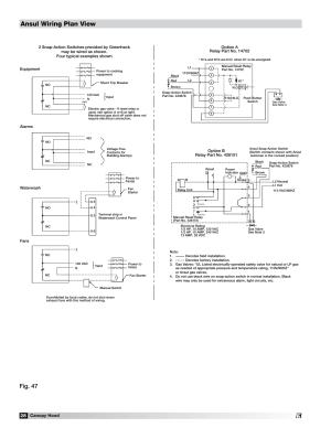 Field wiring for the ansul snapaction switch, Ansul wiring plan view, Fig 47   Greenheck Fan