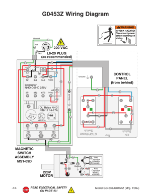 G0453z wiring diagram, 220v motor | Grizzly G0453PX User