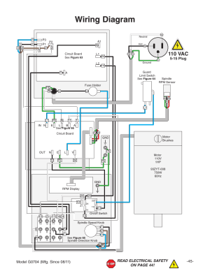 Wiring diagram, 110 vac | Grizzly G0704 User Manual | Page