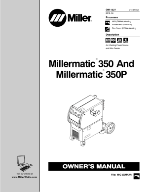 Miller Electric MILLERMATIC 350P User Manual | 56 pages
