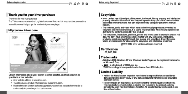 Welcome | iRiver MP3 Player T30 User Manual | Page 3 / 37