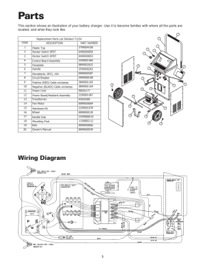 Parts, Wiring diagram | Sears 20071234 User Manual | Page