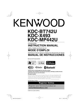 Kenwood KDCBT742U User Manual | 140 pages | Also for: KDCX493, KDCMP442U