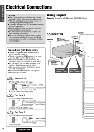 Electrical connections, Wiring diagram, Precautions (iso