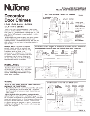NuTone DECORATOR DOOR CHIMES LA58 User Manual | 2 pages
