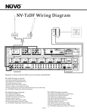 Nvt2df wiring diagram, Nvt2dx package contents, Nvt2dfx package contents | Nuvo T2 User