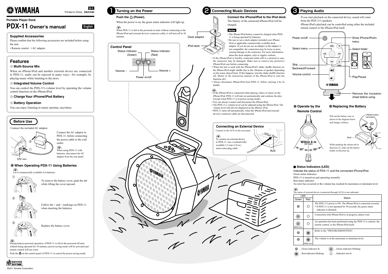 Yamaha Pdx 11 User Manual