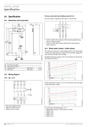 Installation speciðcation 15 specification, 1 dimensions and connections, 2 wiring diagram