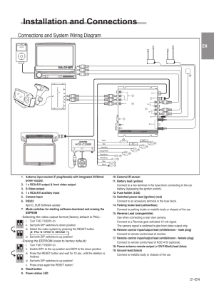 Installation and connections, Connections and system
