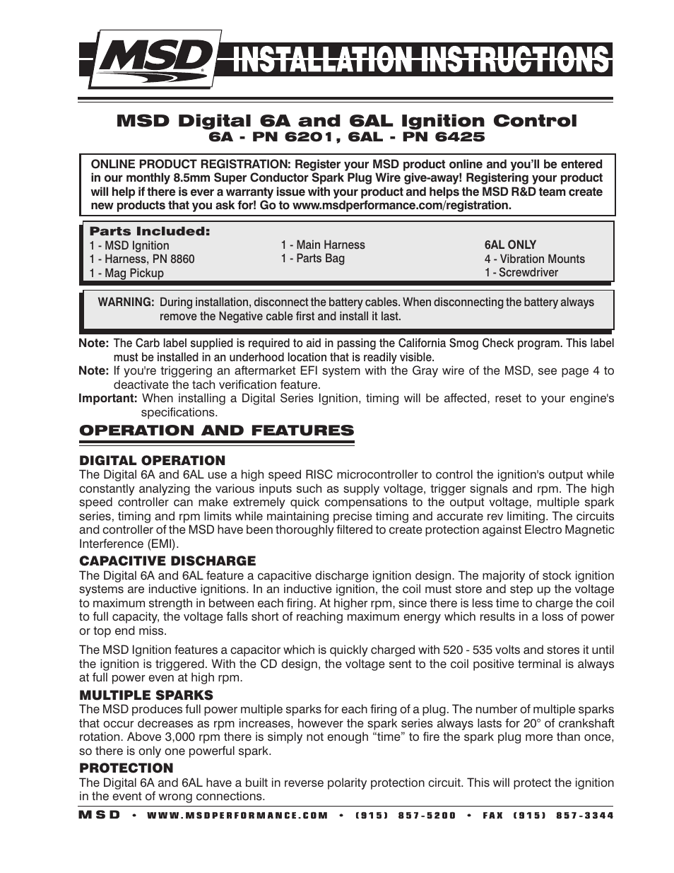 Msd Digital 6a Ignition Control User Manual