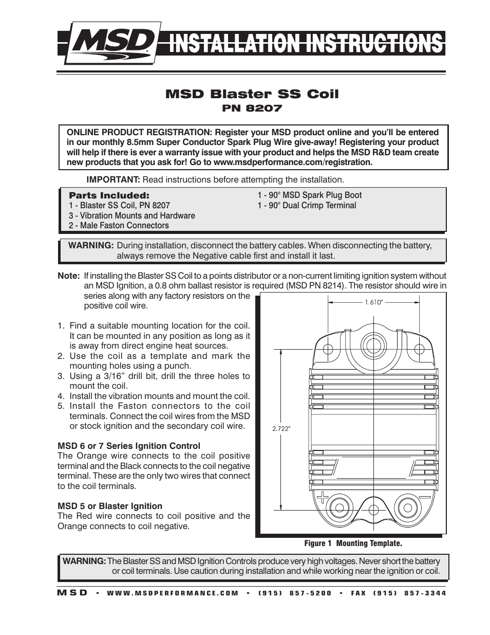 Msd Blaster Ss Coil Installation User Manual