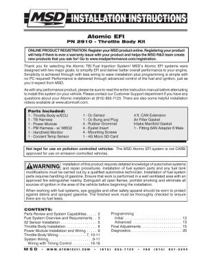 MSD 2910 Atomic EFI Master Kit Installation User Manual