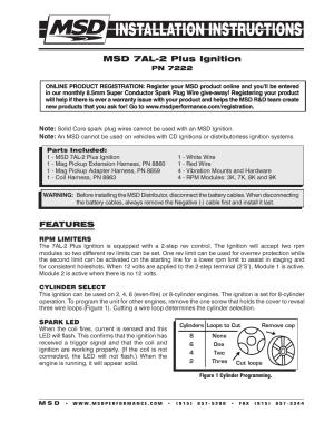 MSD 7222 7AL2 Ignition Control Installation User Manual