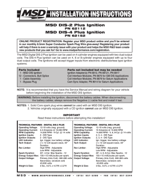 MSD 62152 DIS4 Plus Distributorless 4 Channel Installation User Manual | 16 pages