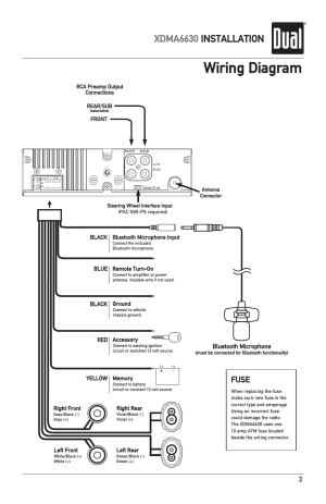 Wiring diagram, Xdma6630 installation, Fuse | Dual Electronics XDMA6630 User Manual | Page 3  32