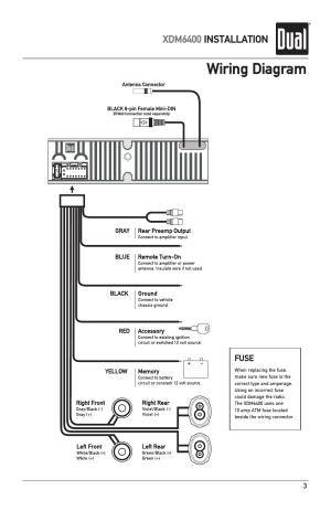 Wiring diagram, Xdm6400 installation | Dual Electronics