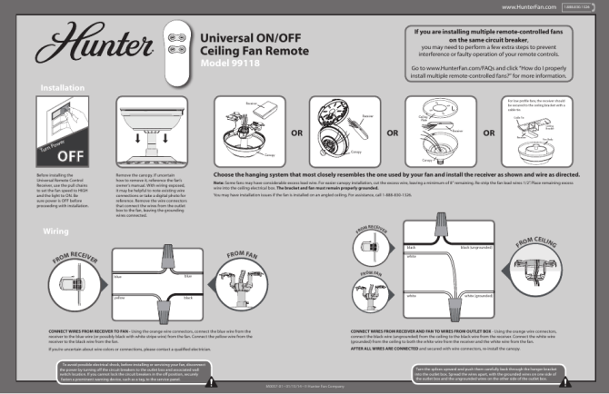 hunter 99118 basic on/off handheld user manual  2 pages