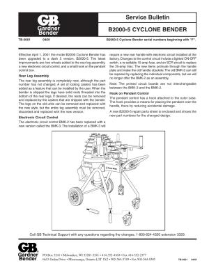 Gardner Bender B20005 Series F Cyclone Bender User Manual