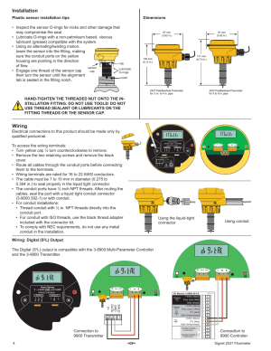 Installation, Wiring, Dimensions | GF Sig 2537 Paddlewheel Flow Sensor User Manual | Page 4  16