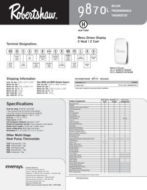 Specifications, Other multistage heat pump thermostats, Shipping information | Robertshaw 9870i