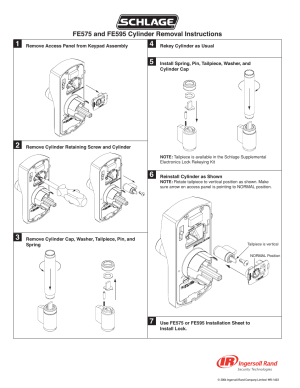 Schlage FE595 Cylinder Removal User Manual   Page 2  2   Also for: FE575 Cylinder Removal