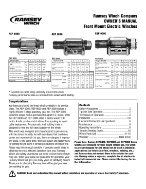 Ramsey Winch REP600080009000 CURRENT User Manual | 16 pages