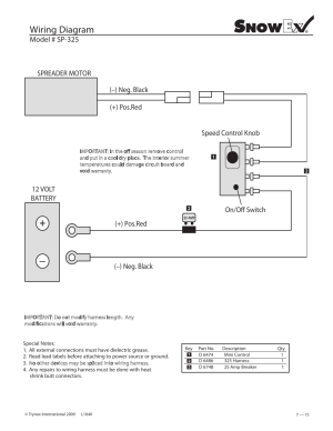 Wiring diagram, Model # sp325 | SnowEx Junior 325 User