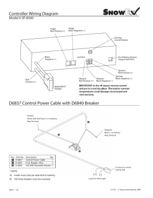 Controller wiring diagram, Model # sp8500 | SnowEx SP