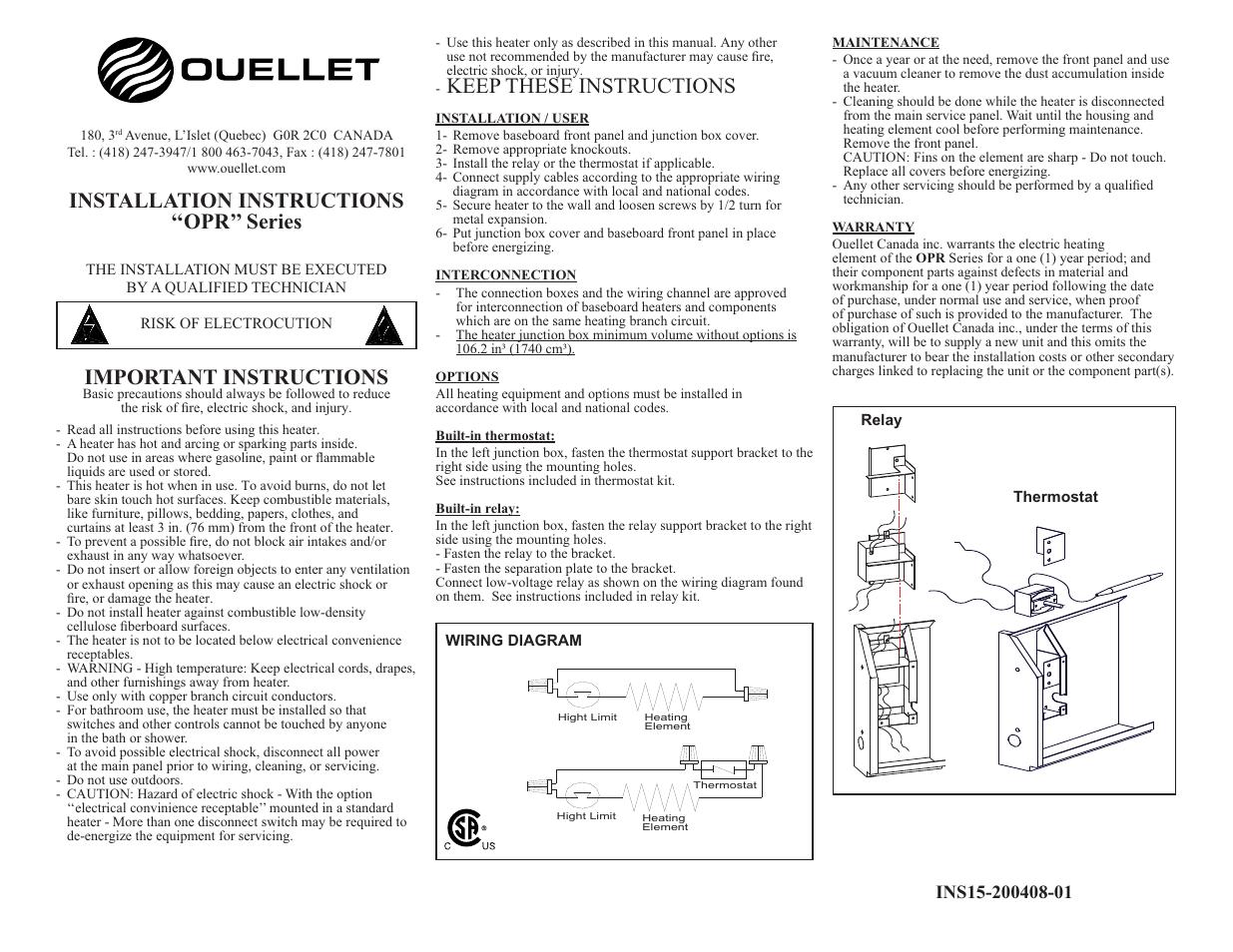 Ouellet Opr User Manual