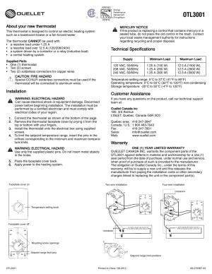 Ouellet OTL3001C User Manual | 1 page