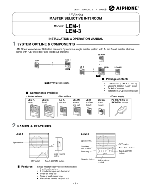 Aiphone LEM3 User Manual | 4 pages | Also for: LEM1