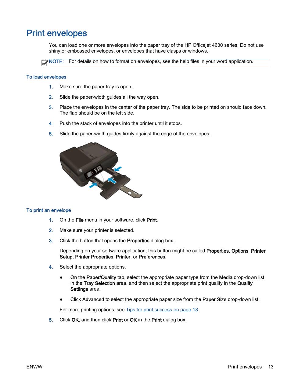 Print Envelopes Hp Officejet 4630 E All In One Printer