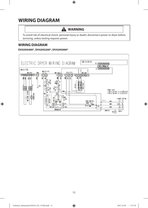 Wiring diagram, Warning | Samsung DV42H5200EFA3 User