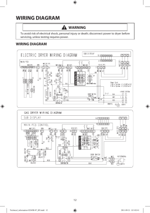 Wiring diagram, Warning | Samsung DV448AEPXAA User Manual | Page 12  12