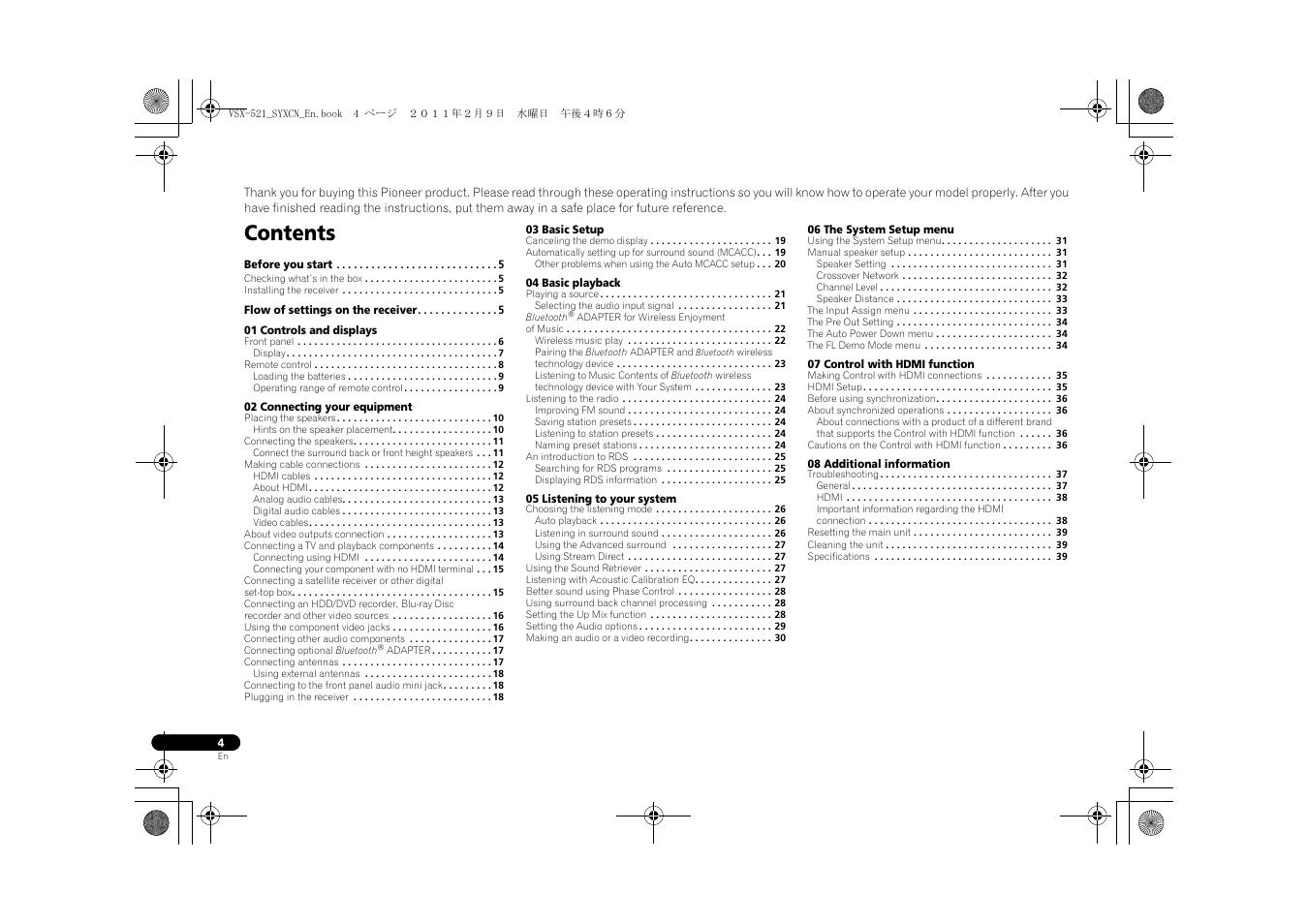 Pioneer Vsx 521 User Manual
