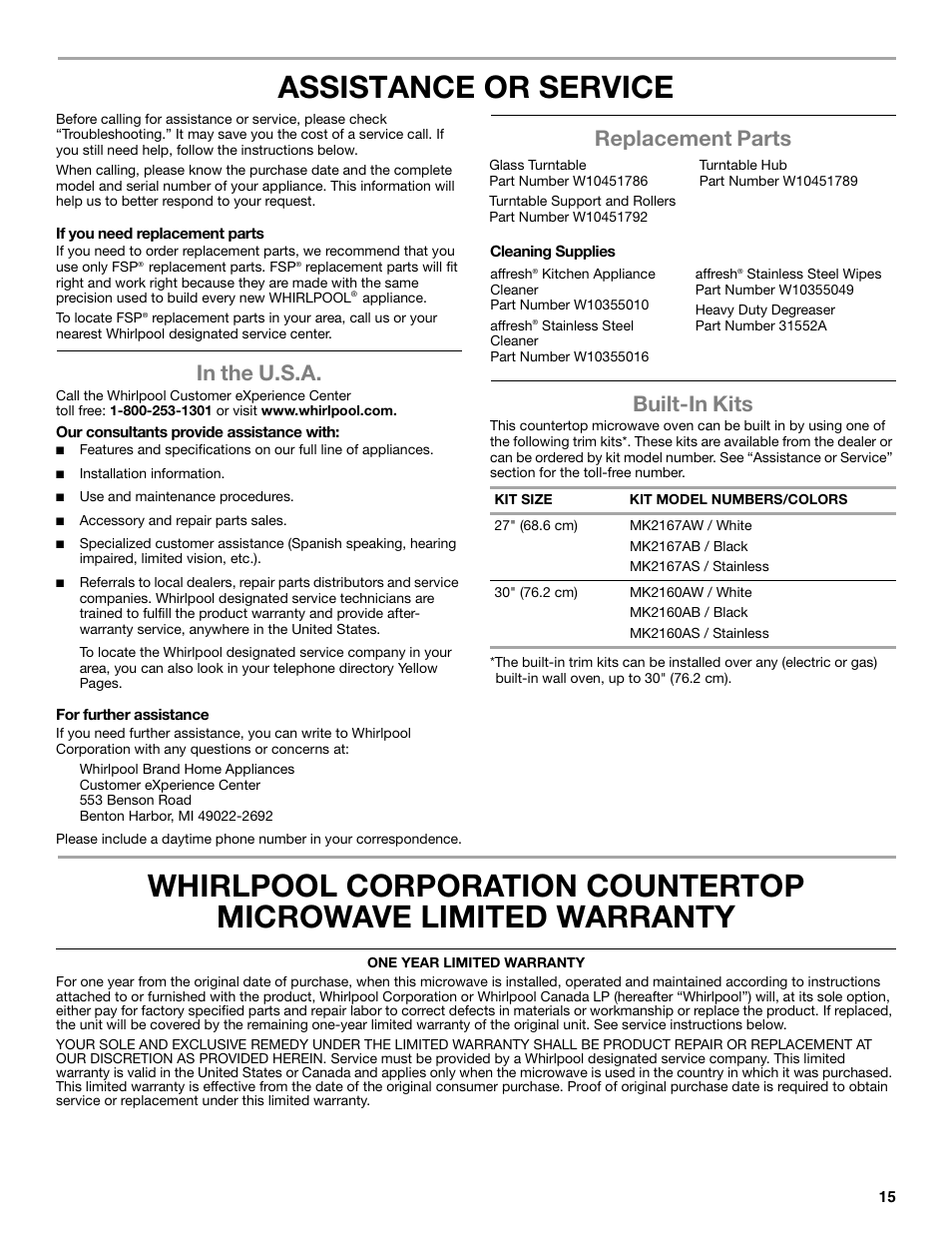 whirlpool wmc30516as user manual 2 pages