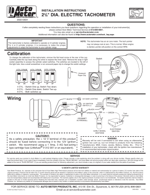 Auto Meter 2893 User Manual   1 page   Also for: 2891